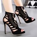 2017 Nova Marca New Design Sexy Sandálias de Dedo Aberto 12 CM Sandálias de Salto alto Mulheres Sapatos de Boa Qualidade Vestido de Festa Bombas size35-40