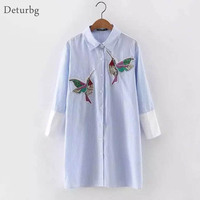 Women Fashion Sequined Embroidered Bird Pattern Long Blouse Femme Blue Stripe Cotton Shirts Tops Blusas 2016