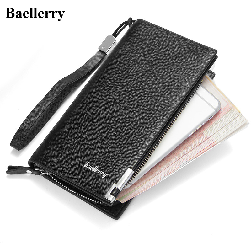 Baellerry Leather Phone Wallets Men Long Black Coin Purses Business Style Money Bags With Credit Card Holder Male Clutch Wallets  new arrival leather wallets men brand long zipper purses phone clutch wallets male business style money bags with card holders