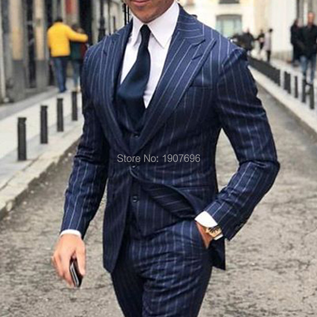 285faa94058 Blue Pinstripe Business Men Suits for Wedding Groom Tuxedos Peaked Lapel  Three Piece Jacket Pants Vest Tailor Made Blazer