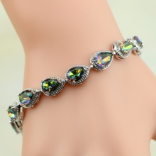 Water Drop Rainbow Mystic Cubic Zirconia 925 Sterling Silver Charm Bracelet For Women