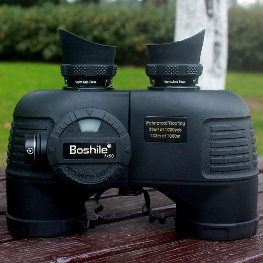 Militaire Boshile 7X50 marine jumelles télémètre boussole HD télescope étanche azote marine binoculo professionnel 4 couleurs