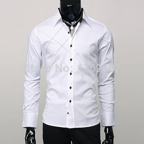 NEW Mens Casual Button Down Slim Fit Shirts Top Designed Long ...
