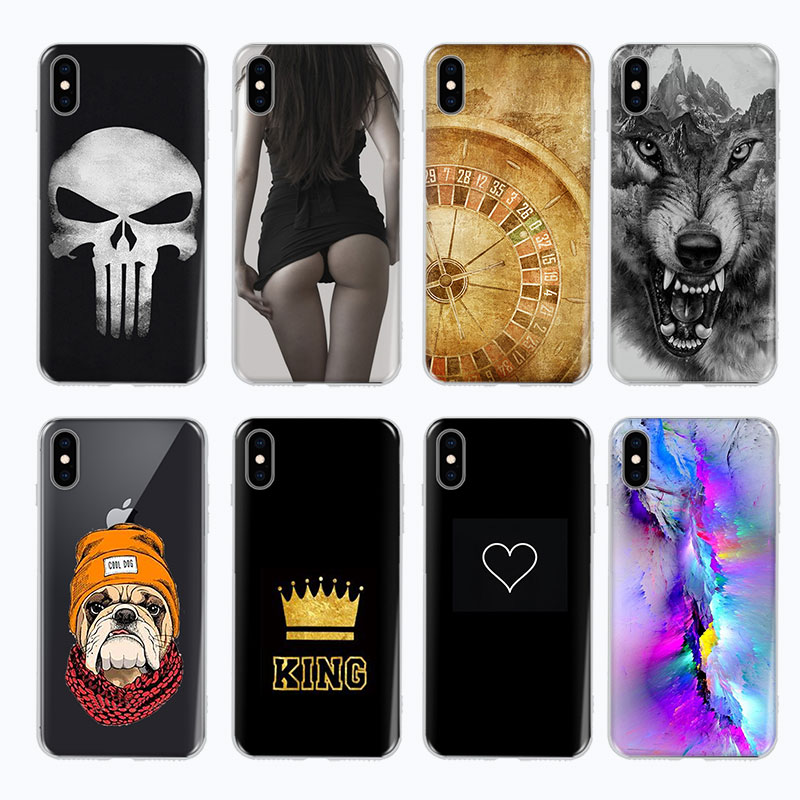 e750ef3ea5c Funda de teléfono de TPU de silicona suave pintada para iPhone X XS Max XR 6  6 S 7 8 Plus 5 5S funda trasera 5SE para iPhone 7 Fundas ~ Super Deal July  2019