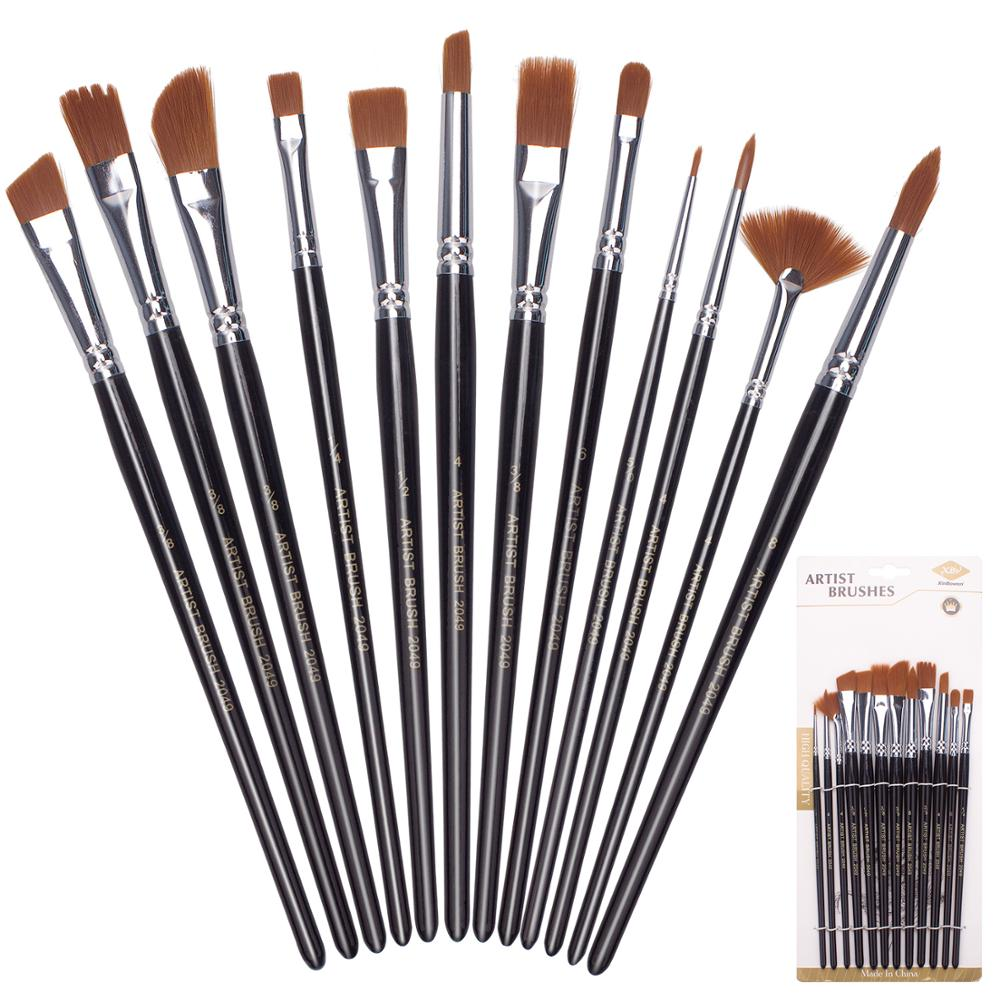 Paint Brushes 12 Set Professional Paint Brush Round Pointed Tip Nylon Hair Artist Acrylic Brush For Acrylic Watercolour Painting