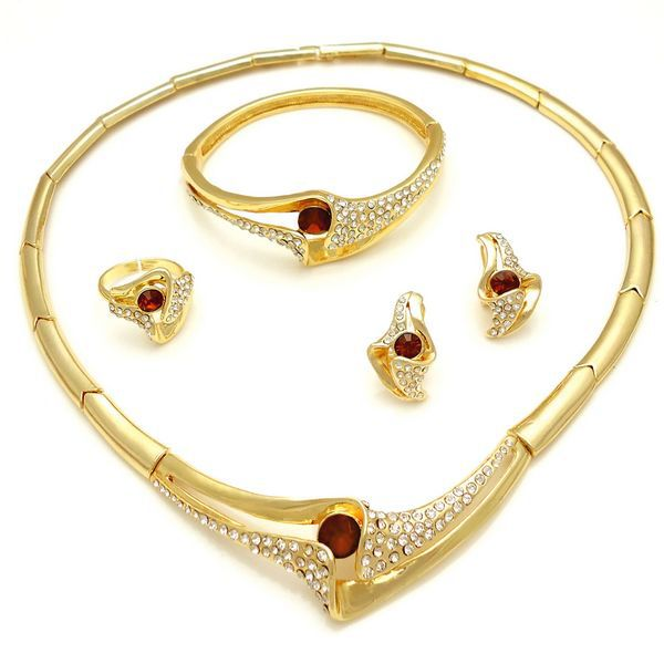 Free shipping 18 carat gold jewelry sets wedding designs gold