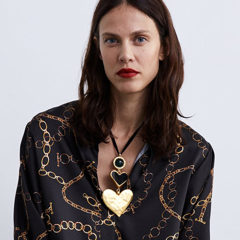 Dvacaman Fashion ZA Heart Maxi Choker Necklace Women Handmade Gold Color Semi-Precious Pendant& Statement Necklace Party Jewelry heart velvet choker necklace