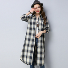 #2909 Spring 2019 Korean Style Casual Long Sleeve Loose Cotton Linen Shirt For Women Plaid Tunic Plus Size