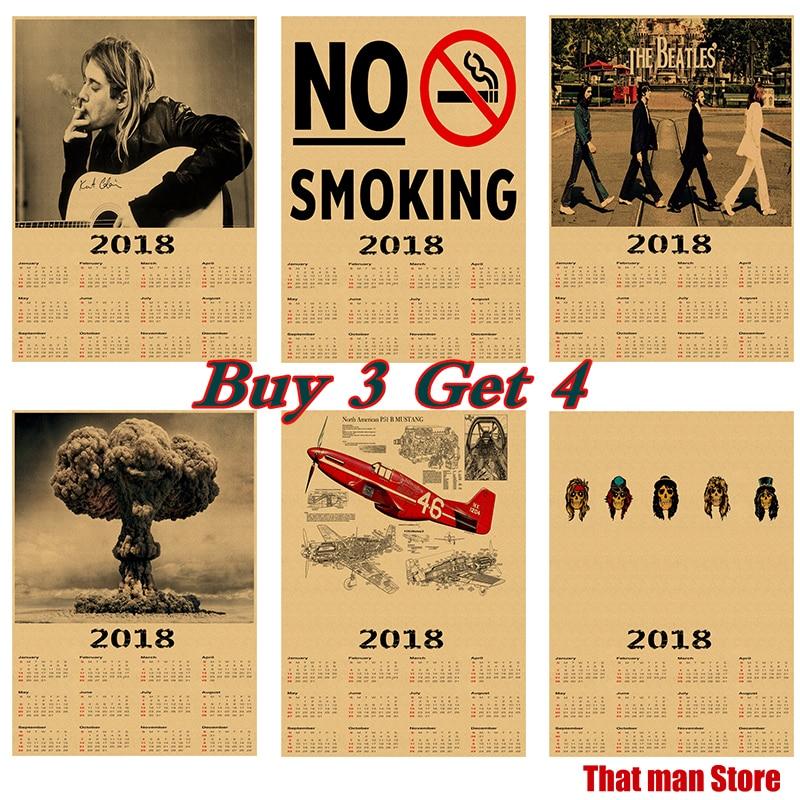 NEW 2018 calendar poster font b Home b font Furnishing decorative Kraft paper poster Wall Sticker
