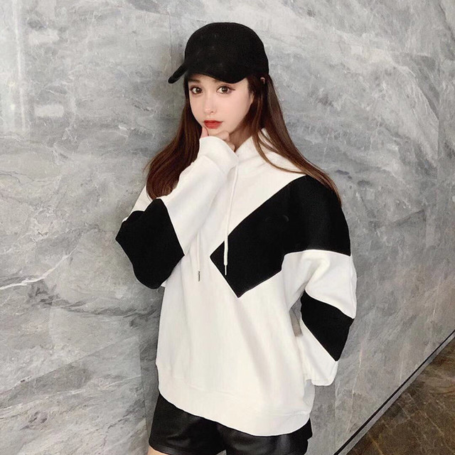 Cotton Sweatshirts Long Sleeve Casual Hooded Hoodie Women Pullover Fashion Casual Patchwork Hoodies