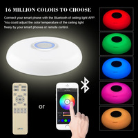 LED Large Ceiling Light Fixtures RGB Dimmable Modern Acryl Alloy 60W 220V With APP Control Bluetooth