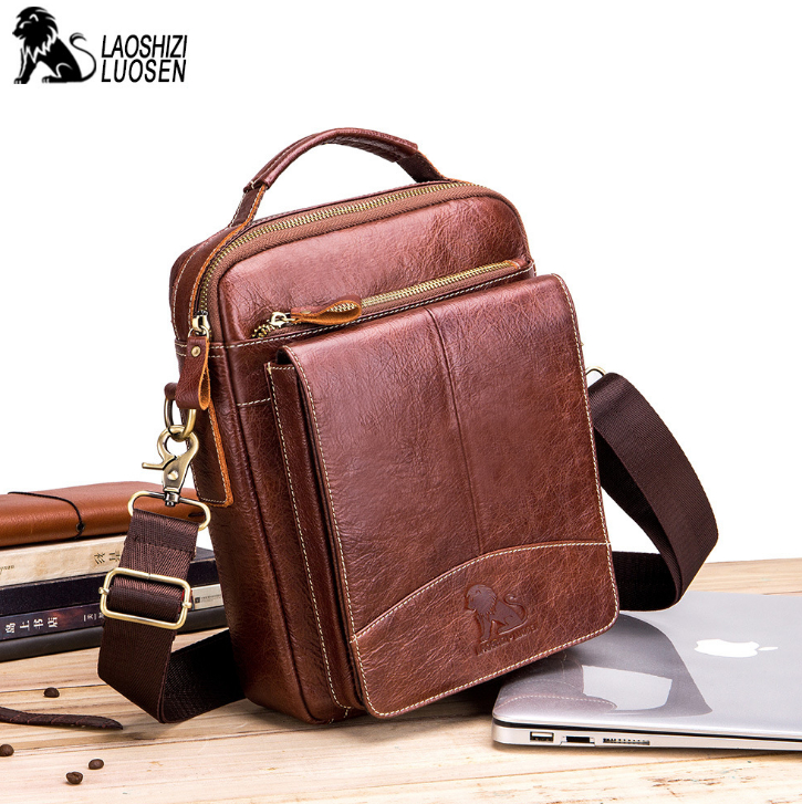 LAOSHIZI LUOSEN Messenger Bag Men Genuine Leather Shoulder Bag Men's bags Small Flap Casual Crossbody Bags for male Handbag 2019-in Crossbody Bags from Luggage & Bags    2