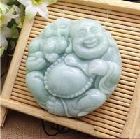 Beautiful hand carved natural green jad e Buddha pendant fashion lovers Lucky jadee laughing Buddha pendant necklace jewelry