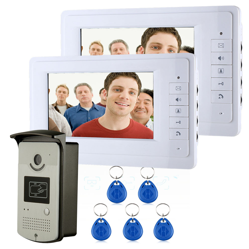 MAOTEWANG 7 Color Video Intercom Door Phone System With 1 White Monitor 2 RFID Card Reader
