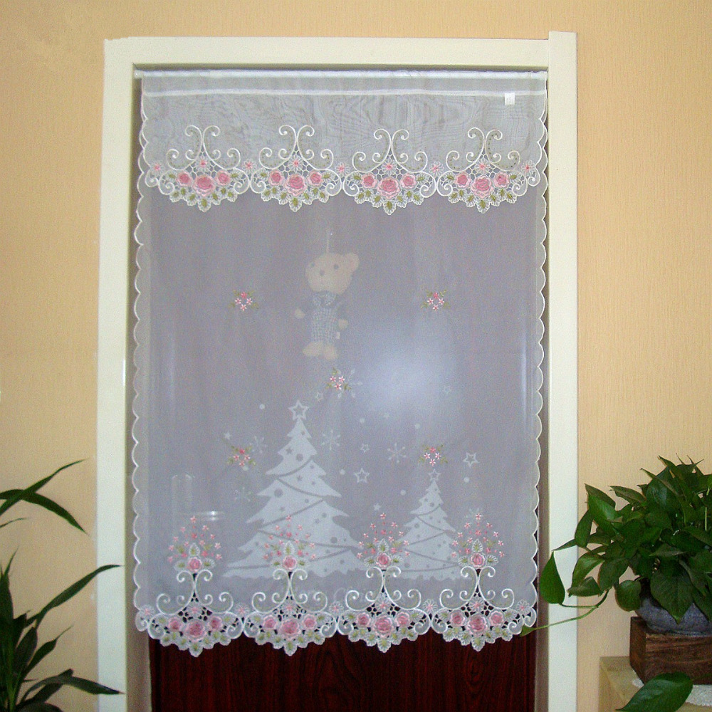 Half curtain Embroidered Valance Partition Fashion Countryside Flowers  Short Straight Curtain for Door Kitchen Cabinet A AA-in Curtains from Home  & Garden ...