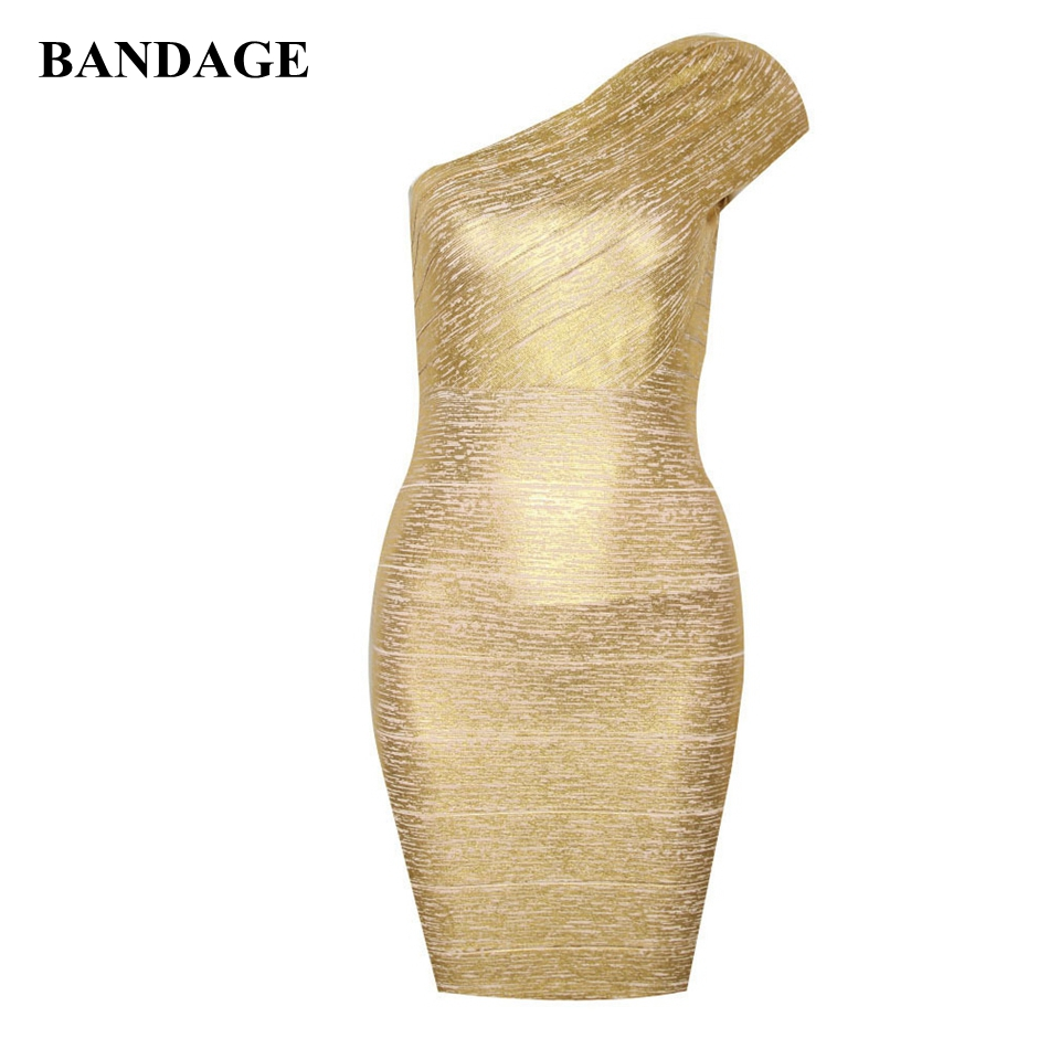 Gold Bandage Party Dress Sexy Women Outfit One Shoulder Cocktail Party Club Wear Bodycon Bandage Mini