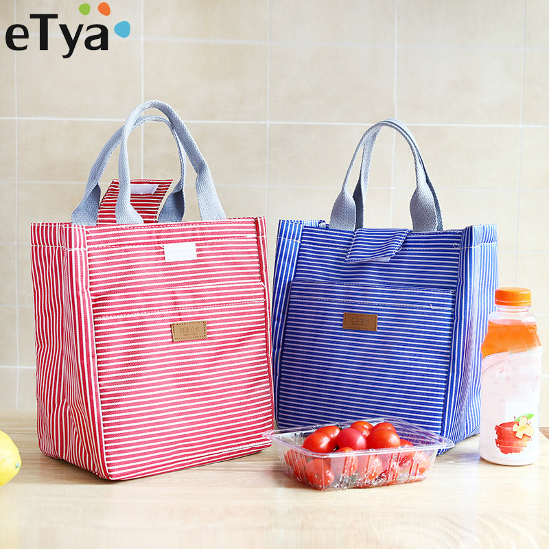 eTya Fashion Oxford Lunch Bag Box Food Insulated Picnic Bag Kids Thermal Bag for Women Men Insulated Cooler Food Storage Handbag