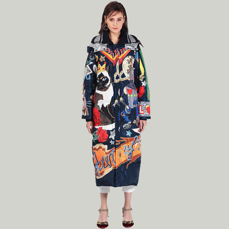 Wiron 2018 High Quality Fashion Designer Runway Letter Printing Women Hooded Long   Down     Coat   Female Winter Warm Thick   Down   Jacket