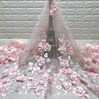 BEAUTIFICAL 3d beads lace flower french lace fabric lovely pink color nigeria lace fabrics for wedding ML5N341