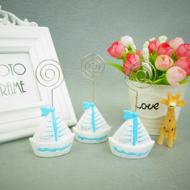 free shipping 12pc sail boat silver beach theme place card holders