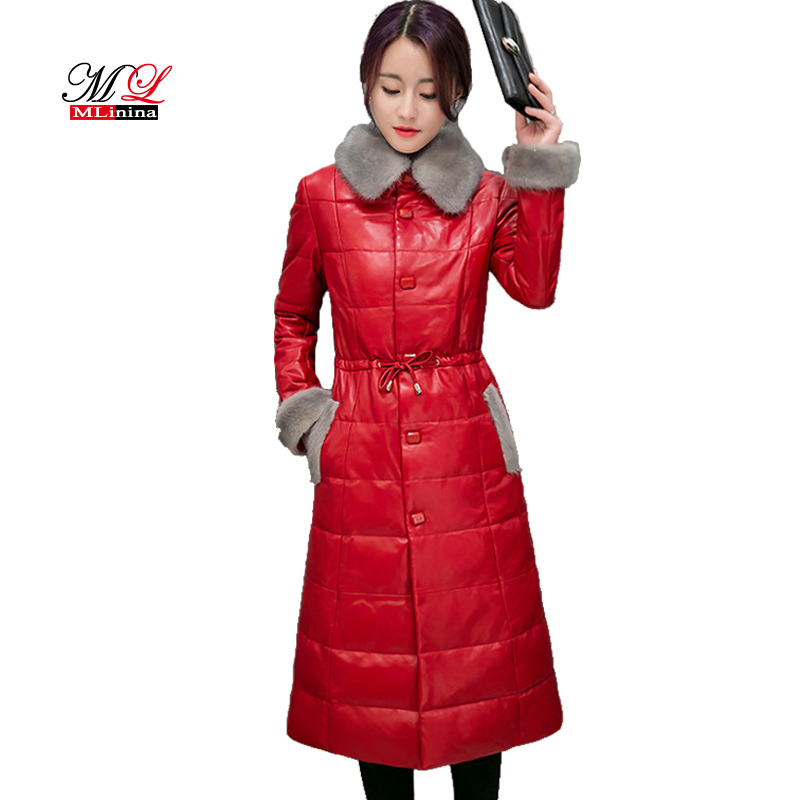 MLinina Luxury Elegant Women Winter Removable Mink Fur Collar   Leather   Jacket Long Coat Female Slim Jackets Outerwear Lady Coats
