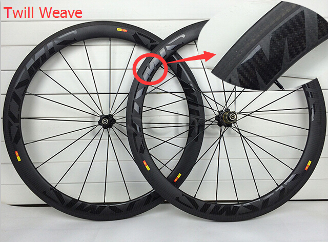 Twill weave road bike matte wheels full carbon fibre wheelset for bicycles cycling with nocatec