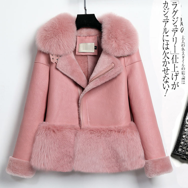 da44741b5 Real fur coat women pink coat winter thick warm sheepskin leather ...