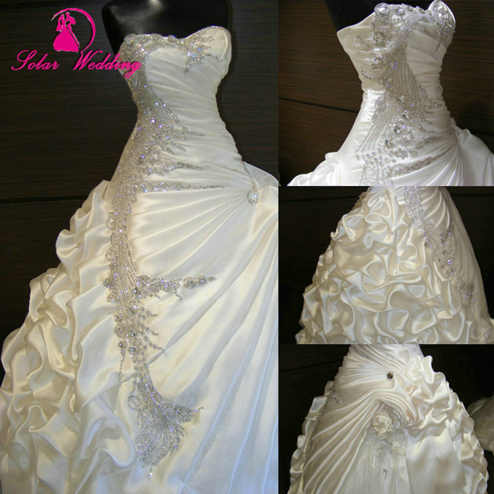 Aliexpress.com : Buy Best Selling With Rhinestones Bridal Dress Fold Pleat  Lace Up Sexy 2015 Wedding Dresses From Reliable Sell Old Dresses Suppliers  On ... Nice Look