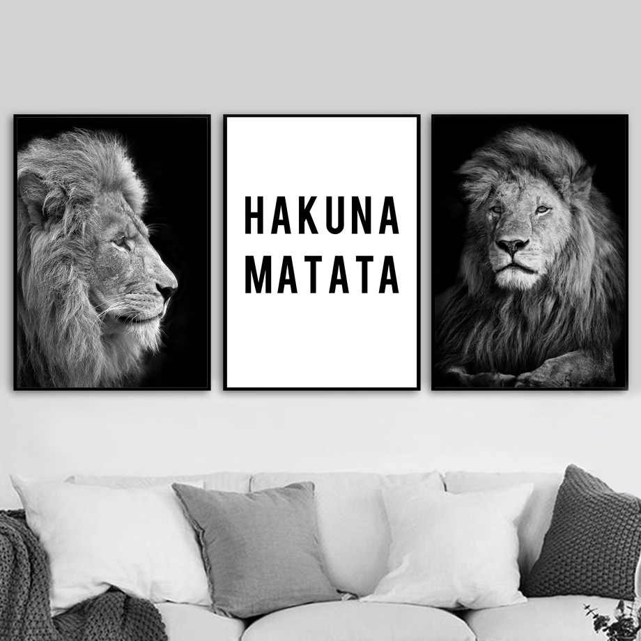 Black White Lion Hakuna Matata Quote Wall Art Canvas Painting Nordic Posters And Prints Wall Pictures For Living Room Home Decor
