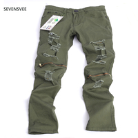2016 New Men S Ripped Slim Green Denim Hole Jeans Men Washed Hole Skinny Jeans Brand