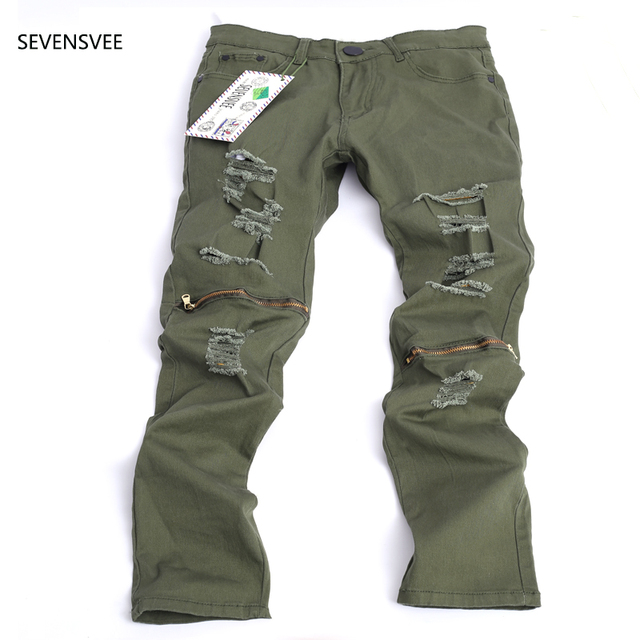 ee5ca8a4106 2016 New Men s Ripped Slim Green Denim hole Jeans Men Washed Hole Skinny  Jeans Brand Vintage Fit Straight Biker Trousers 28-38