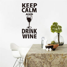 Removable Quote Wall Decal Keep Calm And Drink Wine Glass Sticker Home Decor Bar Fashion Kitchen YO-168