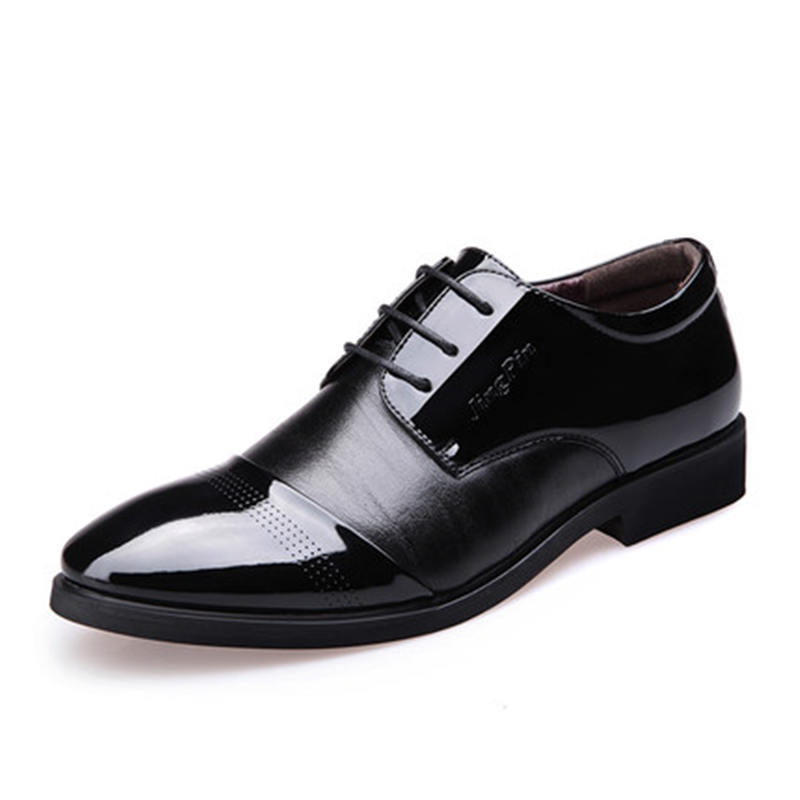 New fashion men breathable business dress shoes high quality pointed toe lace up leather office and wedding shoes oxfords tba hot sale luxury brand men s office career business breathable casual winter and autumn male lace up pointed toe flats shoes