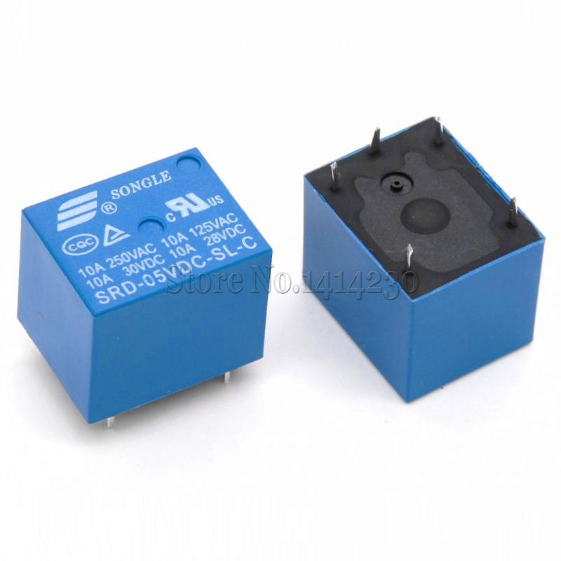 10PCS/lot 5V DC Power Relay SRD-05VDC-SL-C T73-5V SRD-5VDC-SL-C 5Pin PCB Type In stock цены
