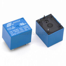 10PCS/lot 5V DC SONGLE Power Relay  SRD-05VDC-SL-C T73-5V SRD-5VDC-SL-C PCB Type In stock