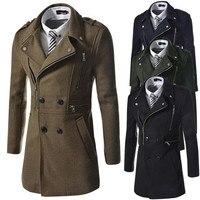 Men Coat Double Breasted Overcoat New Products Men's Fashion Multi zipper Design Lapel Woollen Coat Turn down Collar Wool Blend