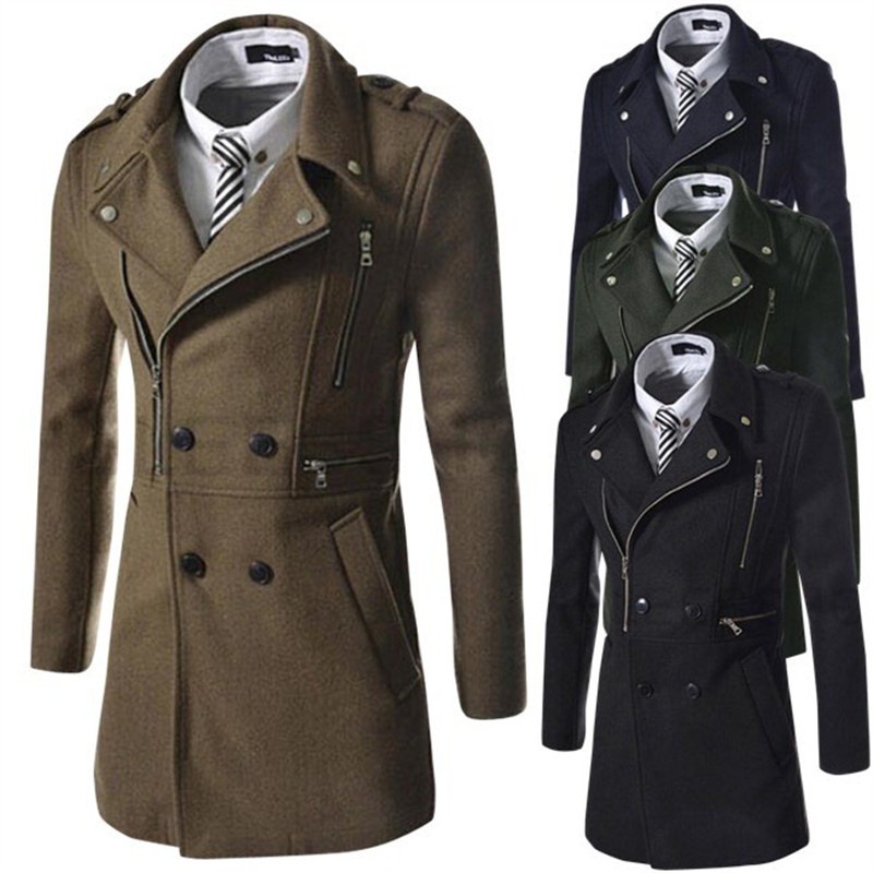 Men Coat Double Breasted Overcoat New Products Men's Fashion Multi-zipper Design Lapel Woollen Coat Turn-down Collar Wool Blend