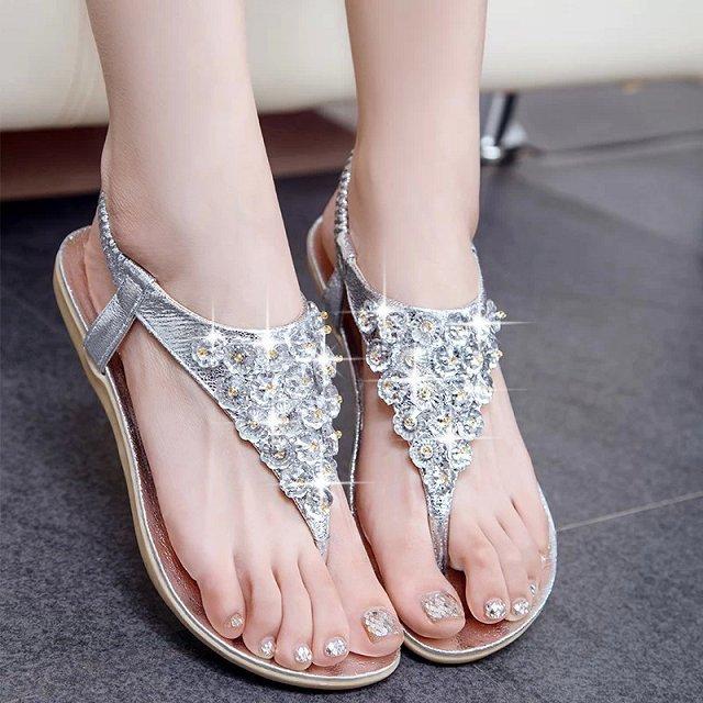 c66ab4d26 summer 2015 new women s sandals female flat Korean rhinestone flip flops  crystal flower flat diamond sandal sexy woman sandels