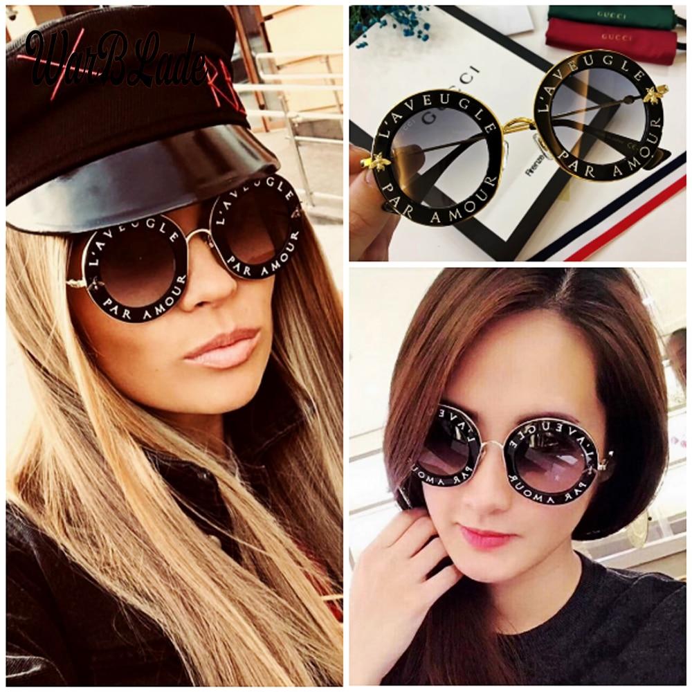 2020 Модные солнцезащитные очки с пчелами в ретро-стиле с круглыми буквами и прозрачной оправой с затемненными линзами трендовые женские лет...