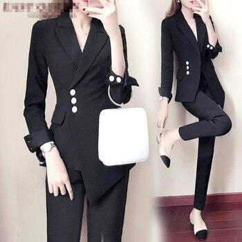 Womens business suits Irregular blazer white black business suit Double Breasted office uniform designs women Pant Suits