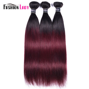 Image 3 - FASHION LADY Pre Colored Brazilian Straight Hair Extension Ombre Human Hair Weave 1B/99J 1/3/4 Bundle Per Pack Non Remy