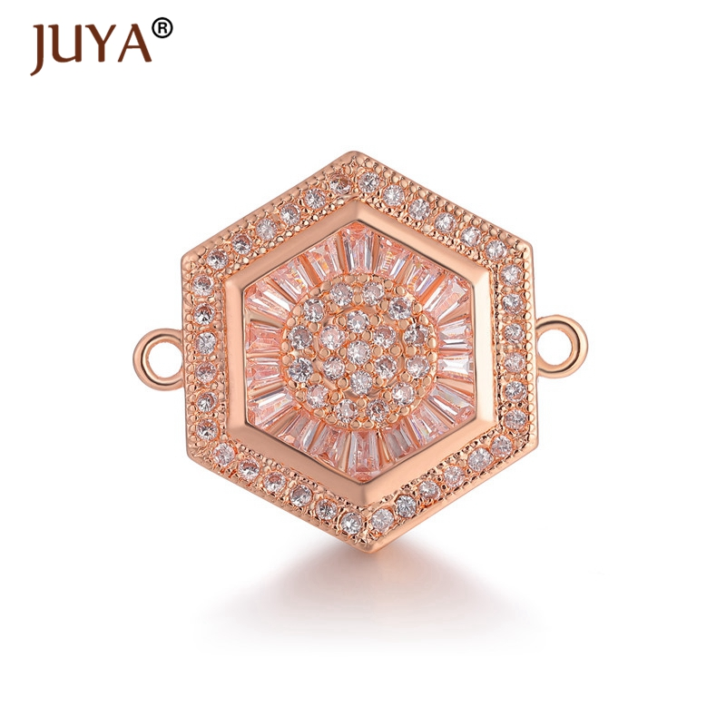 Copper Zircon Crystal Accessories For Jewelry Making Luxury Charm Connectors Pendants For Jewellery Handmade Bracelet Necklace