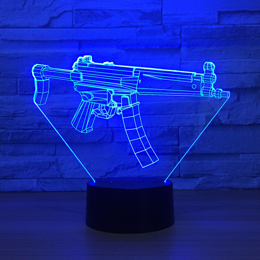 Creative Gun 3D USB LED Lamp 7 Color Remote Touch Switch 3D Night Light RGB Lava Table Lamp Boy Bedroom Decoration Best Toy Gift led chelsea football club 3d lamp usb 7 color cool glowing base home decoration table lamp children bedroom night lights