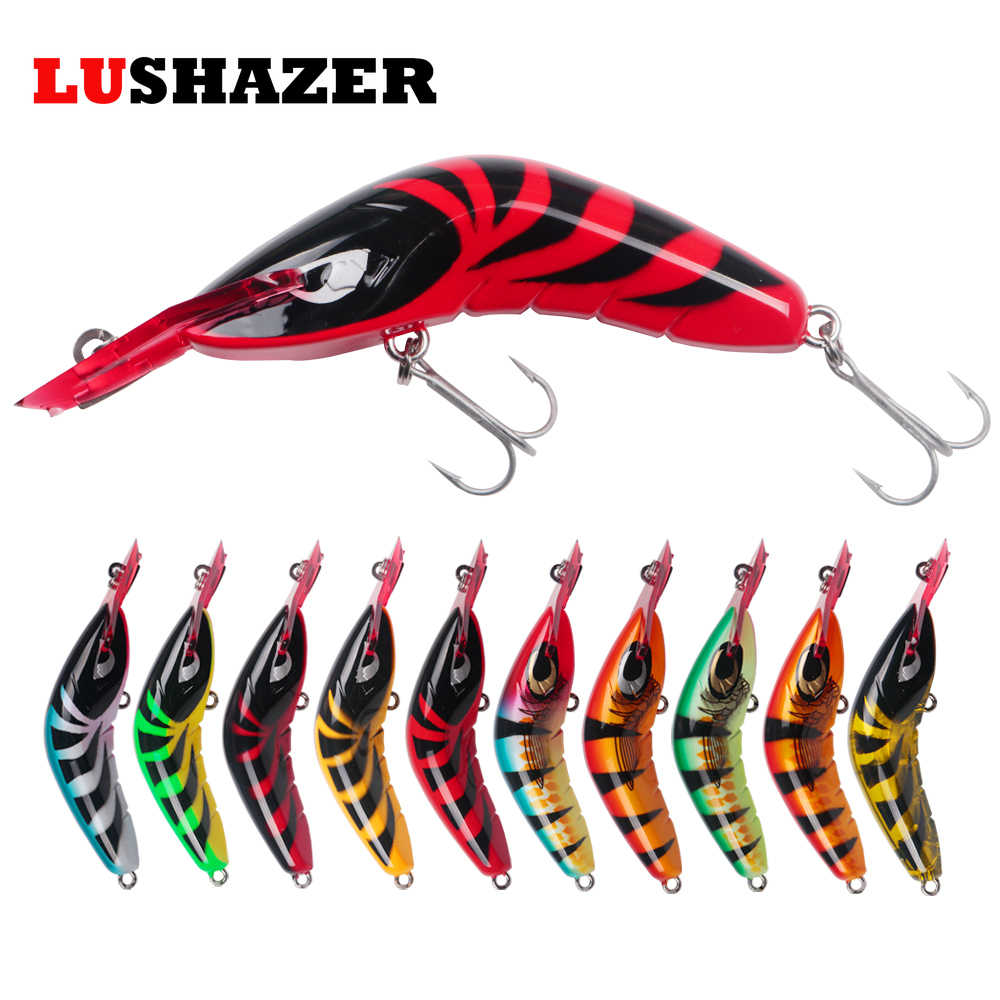 LUSHAZER Fishing Lure Shrimp Minnow 80T Bait 17g 80mm Crankbait Iscas Artificiais Para Pesca Vib Lure Wobbler Hard Baits Crank