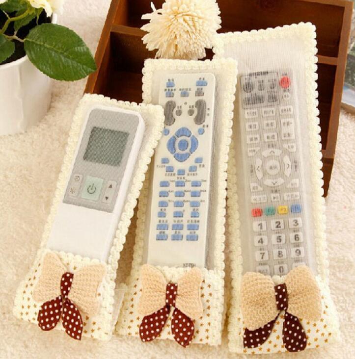 Cloth Soft Bowknot Lace Design Dustproof TV Remote Control Case Air - Household Merchandises