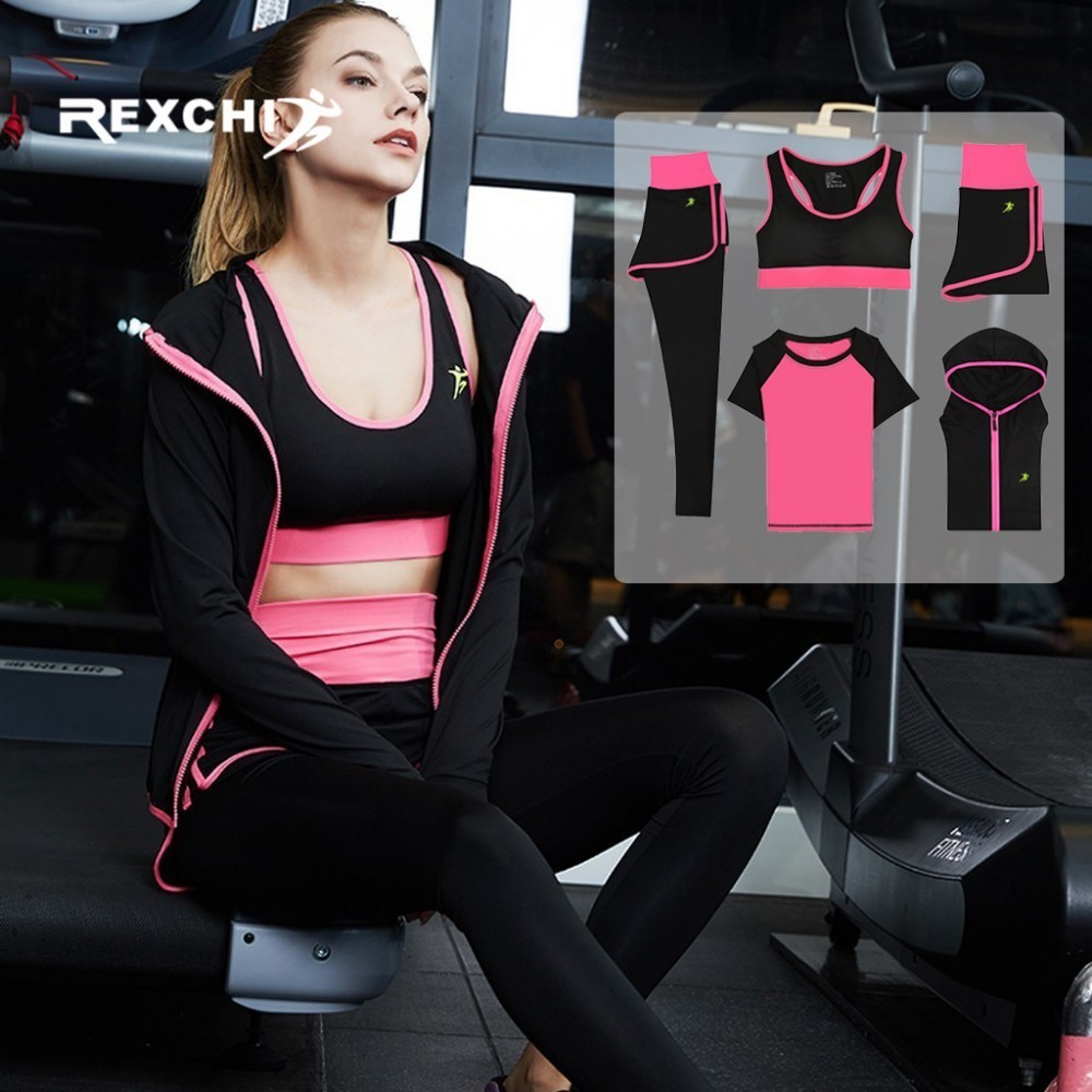REXCHI 5Pcs Women Yoga Set Gym Fitness Suit Sports Wear Workout Clothes for Running Jogging Training Clothing Tight Quick Dry crazyfit mesh hollow out sport tank top women 2018 shirt quick dry fitness yoga workout running gym yoga top clothing sportswear
