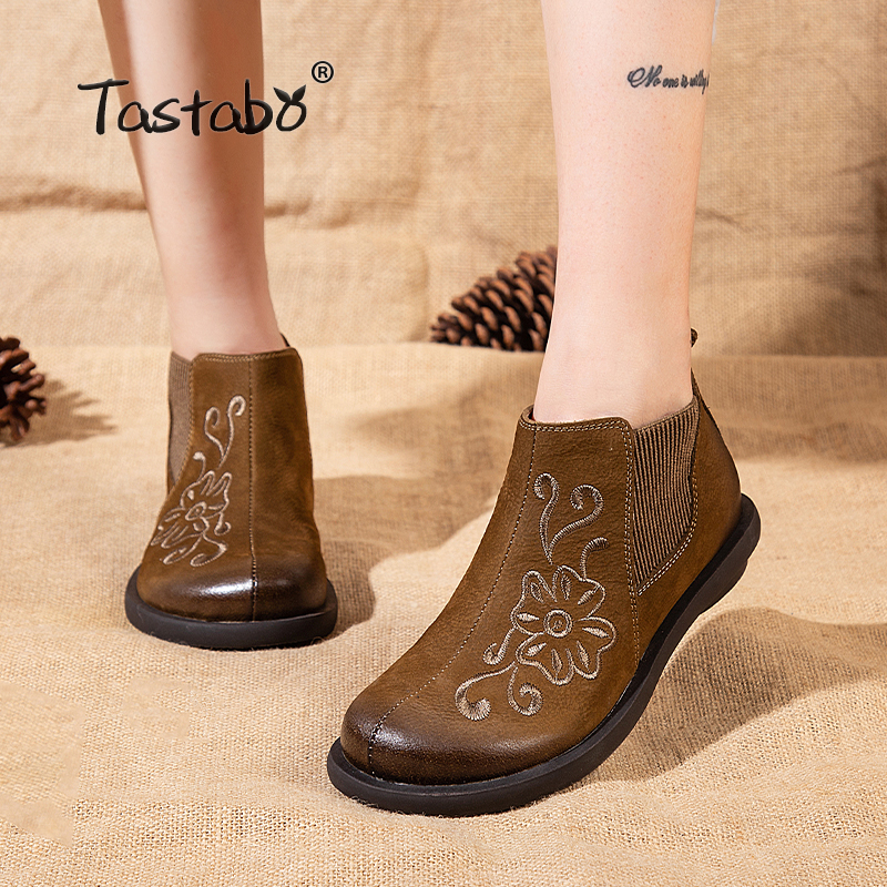 Tastabo Ankle Boots for Women Retro Boots Ladies Shoes Handmade Fashion Soft Suede Leather Martin Shoes Flat Rubber Boots wholesale 5 beige rubber soft front insole for ladies fit any shoes
