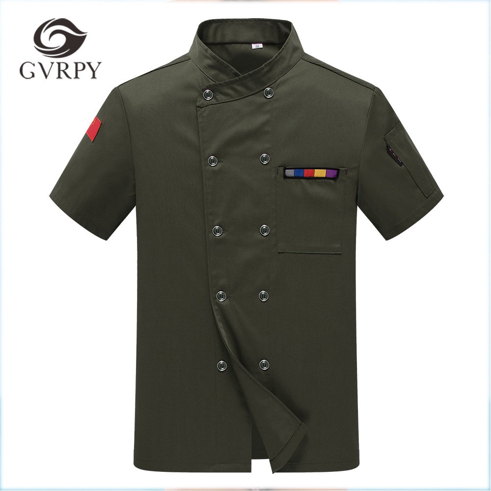 2018 Hot Sale Wholesale Women Men Short-sleeve Double Breasted Kitchen Bakery Sushi Chef Jacket Chinese Restaurant Chef Uniforms image