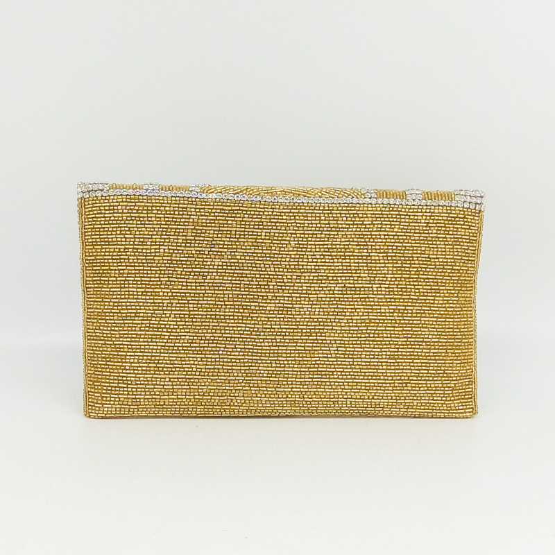 Boutique De FGG Dazzling Crystal Women Gold Evening Bag Handmade Beaded Envelope Purse Wedding Party Cocktail Bridal Handbag in Top Handle Bags from Luggage Bags