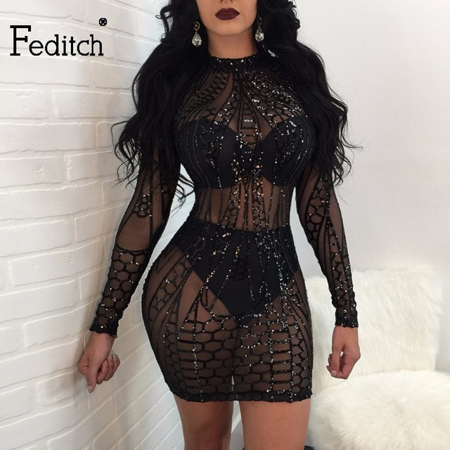 Feditch Mesh Patchwork Women Bodycon Dress Sexy Clubwear Black Sequin Dress  Women Party Vintage Printed Lady Bandage Dresses 63edc72bf244